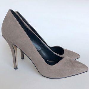 Aldo Gray Suede Asymmetric Pointed Toe Heels 6